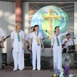 Группа прославления церкви ведет служение прославления и поклонения Богу.